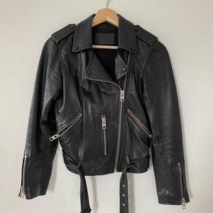 ALLSAINTS balfern leather jacket sz s - black